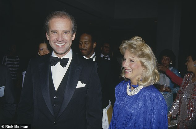 Stevenson said he first suspected Biden and Jill were having an affair in August 1974. He was then 26, Jill was 23 and Joe was 31. 'Then one of her best friends told me she thought Joe and Jill were getting a little too close. I was surprised that she came to me.' Pictured: Jill and Joe in 1987