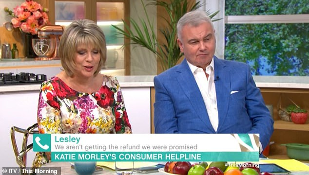Fuming: Ruth quickly intervenes and apologizes to viewers for the morning slip.  Ruth's co-host and husband Eamonn Holmes didn't seem too impressed with the mistake