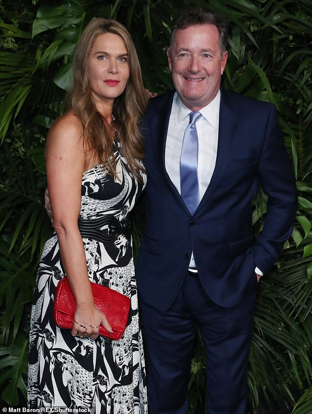 Shocked: Piers Morgan and wife Celia were burgled as they slept by thieves who invaded their bedroom at a luxury French villa (pictured together in February)