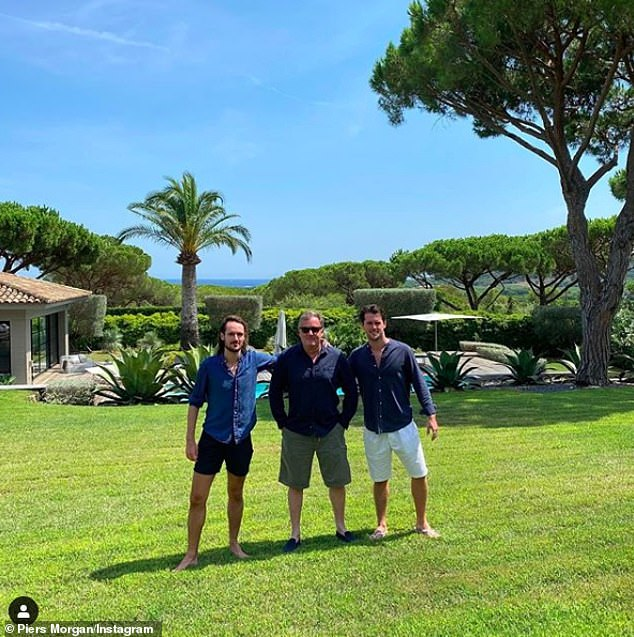Increase: Officers said that the summer season sees a sharp uptick in burglaries on the French Riviera as criminals target wealthy holiday makers (Piers pictured alongside sons Spencer and Stanley at the luxury villa)