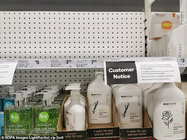 Hand sanitiser flew off the shelves at chemists and supermarkets in February and March (example pictured)  at the peak of the COVID-19 pandemic