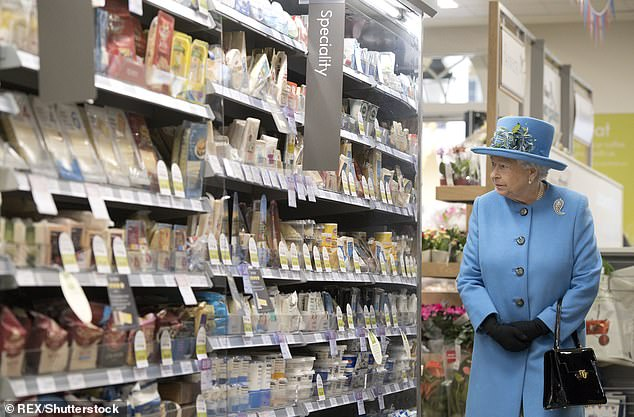 End of an era? Prince Charles now looks set to focus his attentions on a sheep farm in Sandringham instead. Pictured: The Queen browsing Duchy Originals products on sale at a Waitrose in Dorset, back in 2016