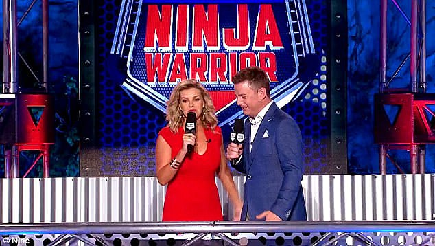 Edited: Viewers were left confused when Channel Nine advised that Tuesday night's episode of Ninja Warrior Australia vs The World had been edited for legal reasons. Pictured: Australian Ninja Warrior hosts Rebecca Maddern andBen Fordham