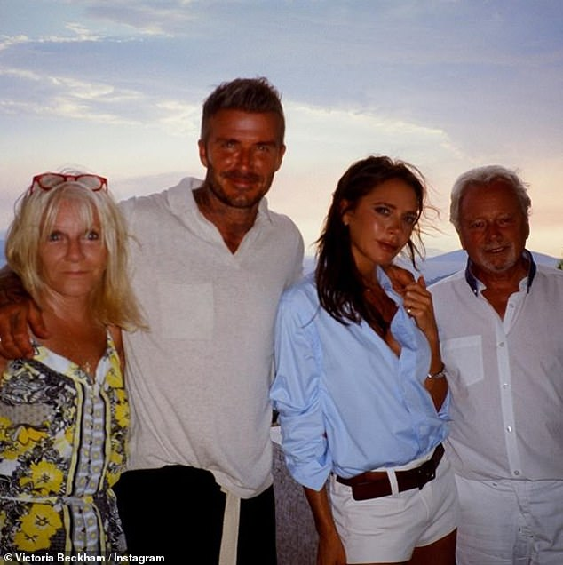 Greece is the word: David and Victoria Beckham posed in the middle of her parents Jackie and Tony Adams, against a gorgeous sunset, in a family snap