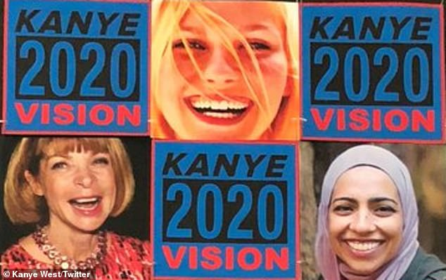 Bizarre: Kirsten Dunst was left baffled earlier this week when Kanye unveiled 2020 Vision poster with her face on it
