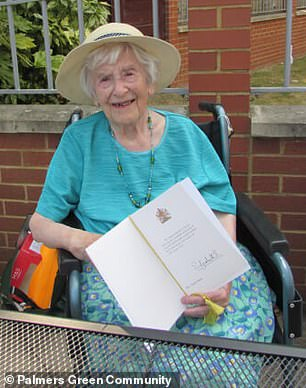 Britain's oldest coronavirus survivor (pictured, Angela Hutor) has revealed that her tips to staying healthy are keeping clam and eating an orange a day