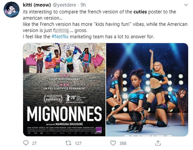 Upset: Many Twitter users highlighted the fact that Netflix was to blame for the provocative portrayal of the movie, but that didn't stop its director Doucouré from being attacked online