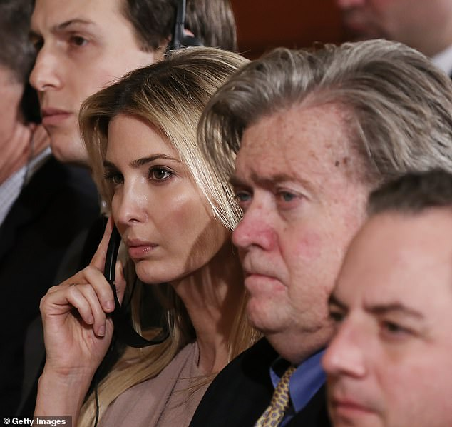 He is quoted in Wolff's book calling first daughter Ivanka 'dumb as a brick' He blasted Ivanka and Jared Kushner in a Vanity Fair interview in late 2017. 'The railhead of all bad decisions is the same railhead: Javanka,' he said. Pictured: Kushner, Ivanka and Bannon in 2017