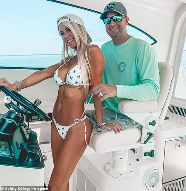 Kolfage, 38, is accused of fraudulently pocketing funds that he used to fund his lavish lifestyle in Florida. He is pictured with his TikTok star wife Ashley, 33, on their boat