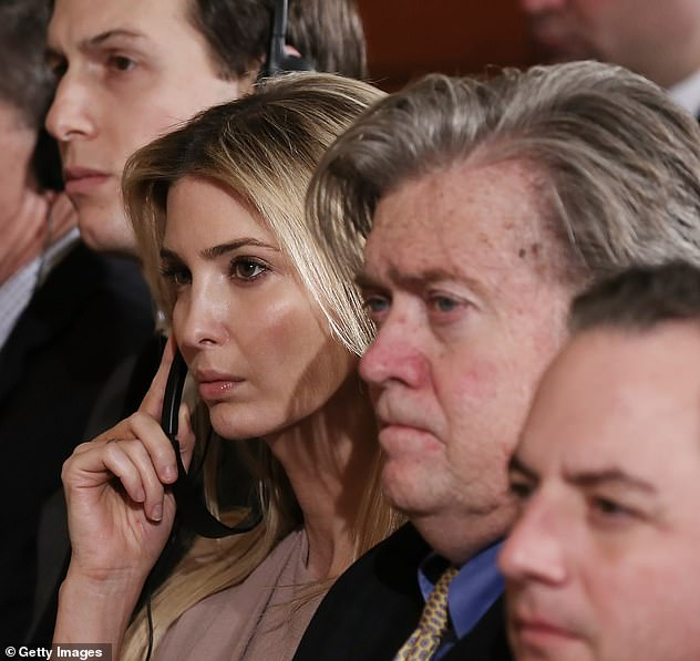 Steve Bannon is quoted in Michael Wolff's book calling first daughter Ivanka 'dumb as a brick' Pictured: Jared Kushner, Ivanka and Bannon in 2017