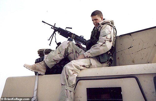 Kolfage during his tour of Iraq. He was an airman and had gone to fetch water when he was blasted by mortar on September 11 2004