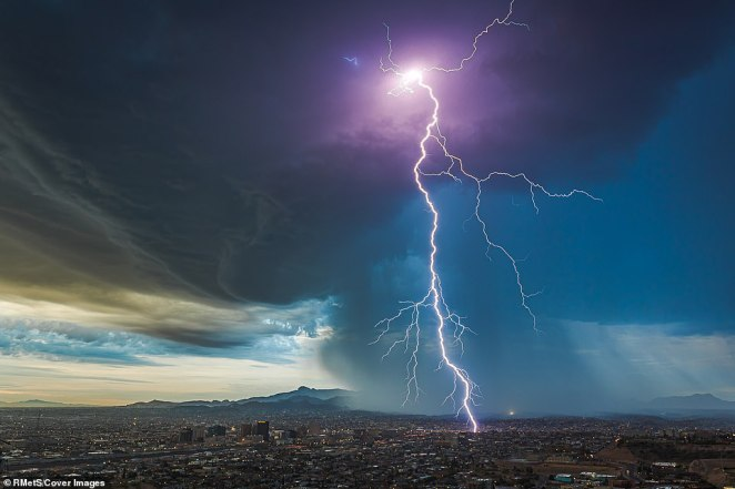 A flash of lightning was photographed as it hit the ground from a vantage point at Scenic Drive, El Paso, in Texas, by Lori Grace Bailey. The Royal Meteorological Society (RMetS), in association with AccuWeather, has announced the 26 finalists for this year's Weather Photographer of the Year 2020', which will now be put to an online public vote