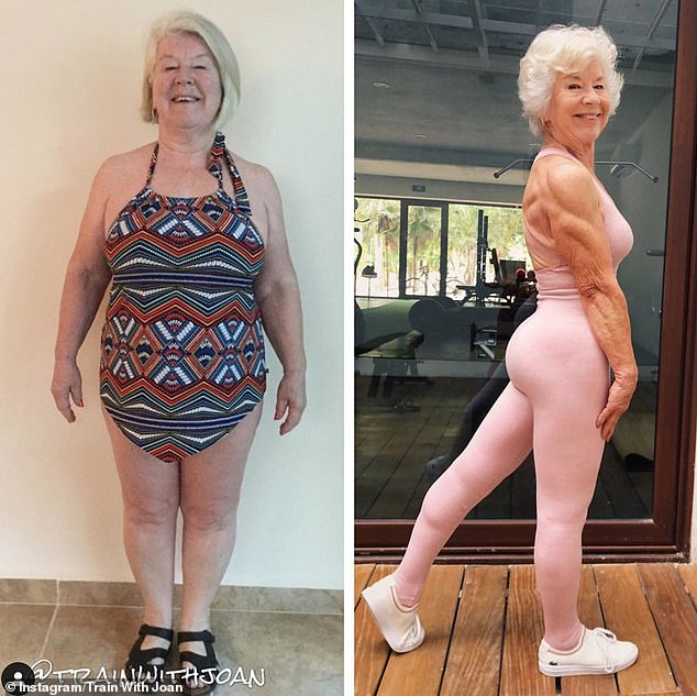 Joan tipped the scales at 198lbs (14st 1lb), pictured left, but now weighs a slender 9st 7lbs 136lbs (9st 7lbs), pictured right