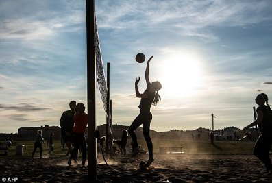 Sweden had a long-established plan for a pandemic and was going to stick to it. Pictured, people play beach volleyball at Gardet park amid the coronavirus outbreak in April