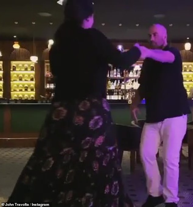 Staying Safe: In a new Instagram video, John and Ella could be seen circling around the dance floor in an otherwise almost completely empty venue, maintaining full social distancing
