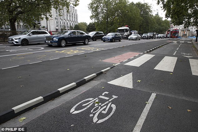 Traffic jams in Park Lane, London, caused by coronavirus related road restrictions