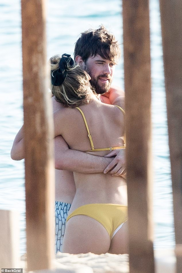 Tender moment: Jack Whitehall and his girlfriend Roxy Horner looked stronger than ever as they packed on the PDA during their romantic trip to the Greek island of Naxos on Saturday