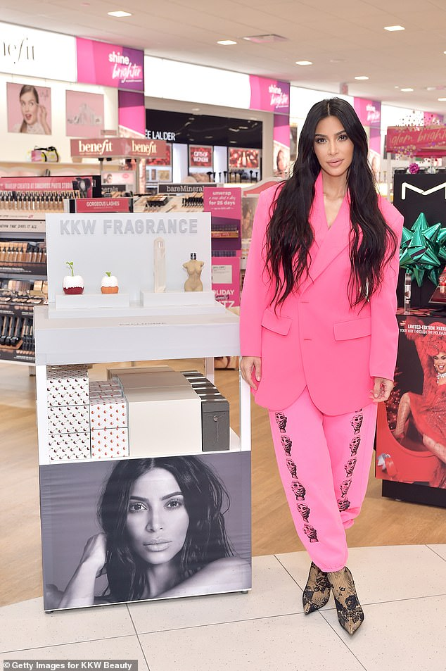 Expanding: She plans to sell her KKW Skin products in retail outlets that sell cosmetics and skin care; shown in 2018