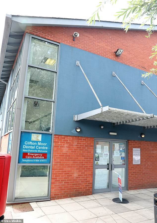 Ms Scurfield was told by Clifton Moor Dental Centre in York (above) to pay a PPE fee or her and her her son could not attend. Patients also face delays as 10million visits were delayed due to coronavirus lockdown