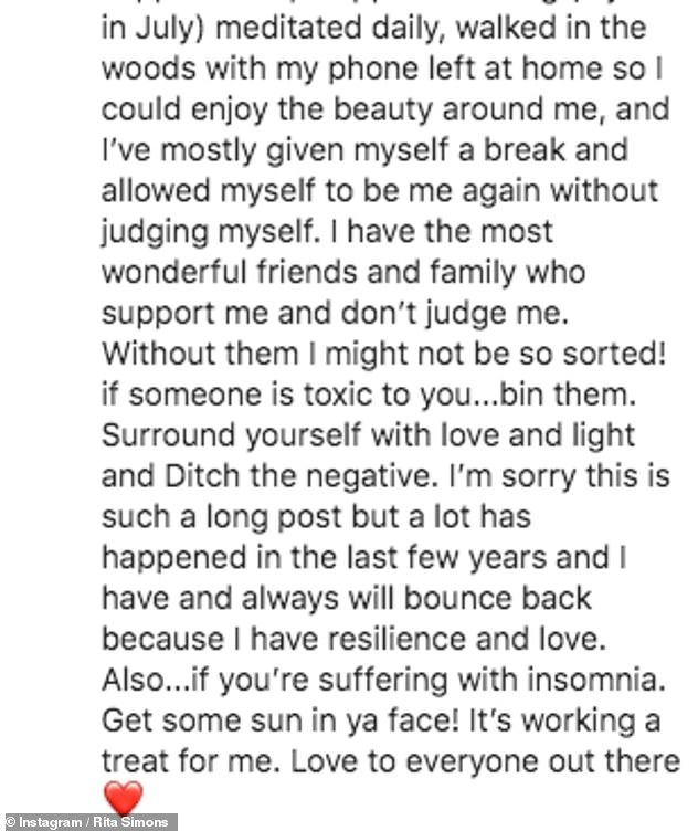 Honest: The lengthy Instagram caption detailed her struggles with her mental health during lockdown and previously