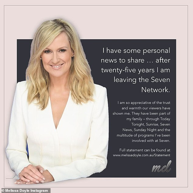 Class act:As news broke of her departure from Seven, Melissa said in a statement: 'For 25 years, I have called Channel Seven home. I've had the privilege to share stories that mattered, meet incredible people and be there for significant moments in history'