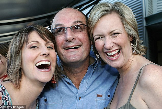 Former colleagues: After 11 years working alongside David Koch on Sunrise, the mother-of-two announced she was leaving Sunrise, departing in August 2013. Pictured with Sunrise's Natalie Barr and David Koch in 2005