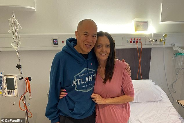 Jayne Brown, 60, was rushed to a Sydney hospital for an emergency operation to remove two large brain tumours. She is pictured with herneurosurgeon Dr Charlie Teo