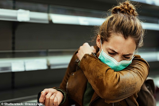 For many using an elbow is considered a polite alternative to sneezing into your hand - but unless the elbow is covered, coughing into your hand keeps more of the droplets from spreading than a bare elbow would. Stock image