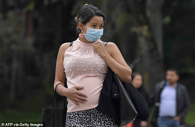 Healthy pregnant women do not fall more seriously ill from Covid-19, a study suggests. Pictured: A pregnant women in Columbia, March 16