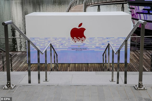 A makeshift wall blocks the entrance to the  Marina Bay Sands Apple store on August 25, 2020. When it opens, it will be the third location in Singapore, joining stores on Orchard Road and in Changi airport