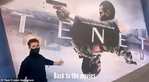 Back!  Tom then stops in a cinema, where he poses in front of the poster for the film Tenet, he says: