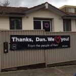Banner supporting Victorian Premier Daniel Andrews seen outside Mosman mansion in Sydney