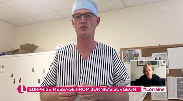 Mr Hall said that it was 'a very tough call' on whether it was the right decision to remove Jonnie's right leg as he fought for his life in hospital as a five-year-old
