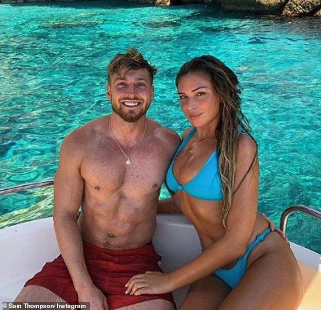 'She was always beautiful': The 23-year-old's boyfriend Sam Thompson recently admitted she 'weighed a lot more and didn't exercise' when they first met (pictured in February)