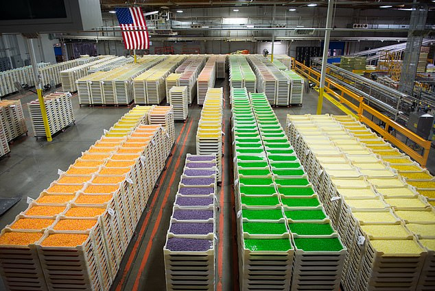 During a tour of Jelly Belly's main plant, visitors can indulge in free samples and take a self-guided tour along an elevated 2.5-mile walkway