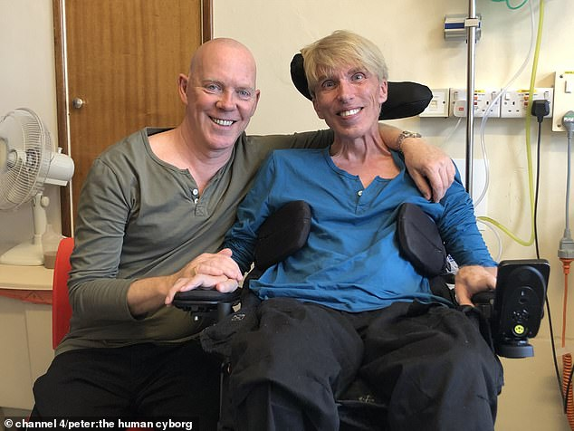Peter Scott Morgan, 62, from Devon, appears in Channel 4's documentary Peter: The Human Cyborg tonight, which documents his battle over two years to save his life by turning himself into the world's first cyborg using technology (pictured with his husband Francis)