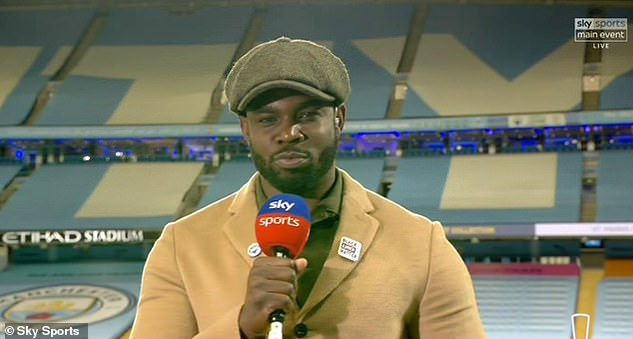 Micah Richards presenting a match at the Etihad Stadium.  The ex-Manchester City player has proven to be a popular addition to the squad with fans