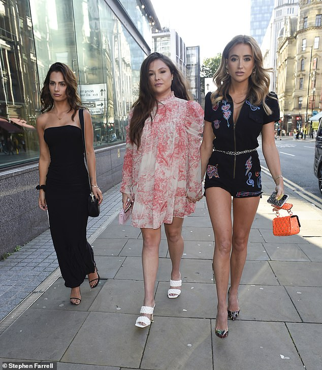 Pals: Other TOWIE (LR) stars Nicole Bass, 27, Fran Parman, 29, and Georgia Harrison, 25, joined Olivia on the set.