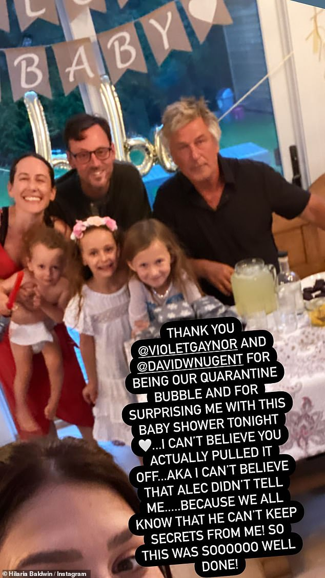 Celebration: She revealed that her 'quarantine bubble' had thrown her a surprise baby shower