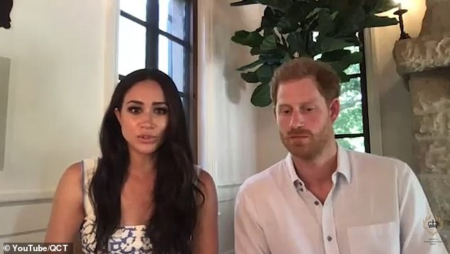 Meghan Markle and Prince Harry (pictured recently on a video call) are 'focused on production at the moment' as there is no market for 'after dinner talk at the moment', said a royal source.