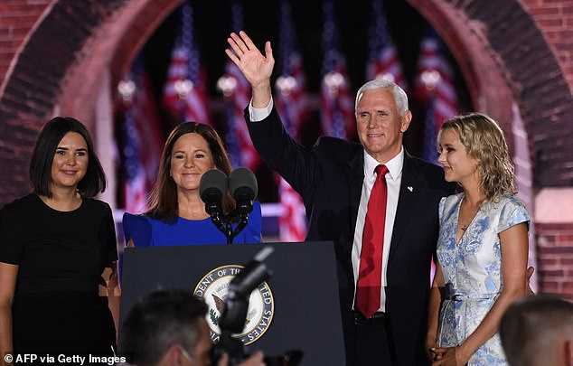 (L-R) Audrey Pence, Second Lady Karen Pence, US Vice President Mike Pence and Charlotte Pence Bond stand on stage at the end of the third night of the Republican National Convention at Fort McHenry National Monument in Baltimore, Maryland, August 26, 2020. The family was featured in a sleek video that played before his speech