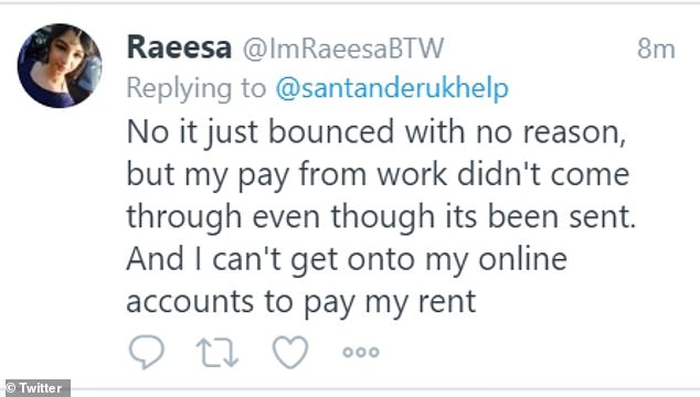 A frustrated customer wrote: 'My pay at work did not come through even though it was sent.  And I can't access my online accounts to pay my rent '