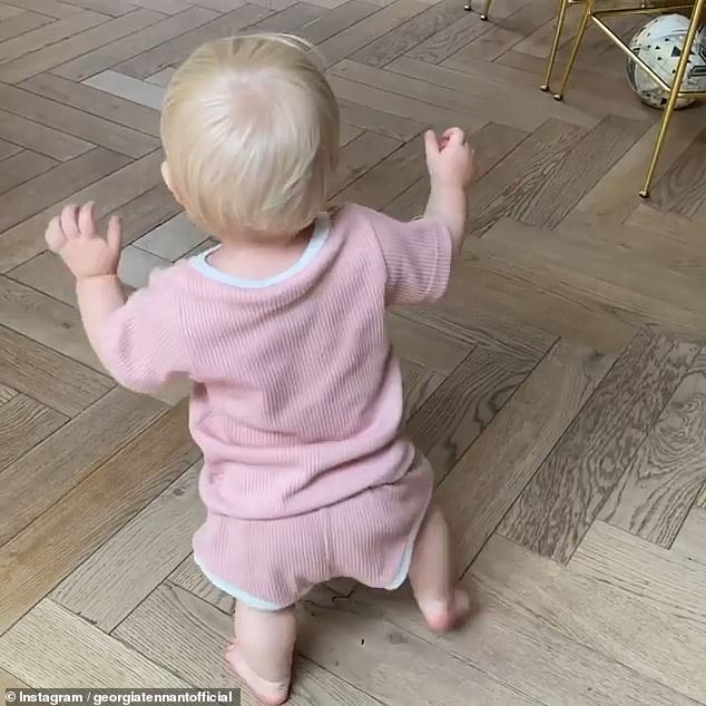 Adorable: David Tennant's wife Georgia shared a rare glimpse of 10-month-old daughter Birdie in a sweet video via Instagram on Saturday