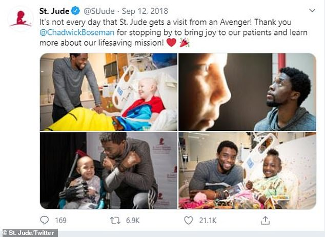 Looking back: 'Two years ago, Chadwick visited the St. Jude campus and brought with him not only toys for our patients but also joy, courage and inspiration. Our thoughts are with his family and friends at this time,' St. Jude tweeted