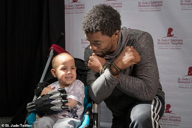 Hero worship:Chadwick knelt down next to one child in a stroller wearing a Black Panther glove, and the two gave the now-iconic Wakanda salute salute together