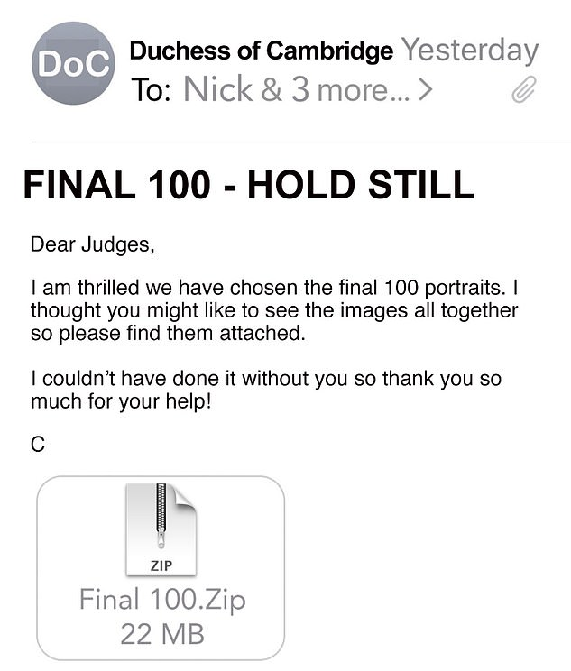 The news comes after the Duchess teased the last 100 portraits had been chosen with an email screenshot, which was posted on Twitter