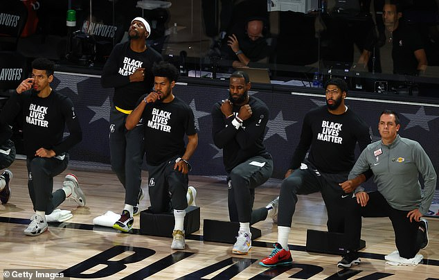 Emotional: James honored Boseman as he and his teammates knelt in reflection