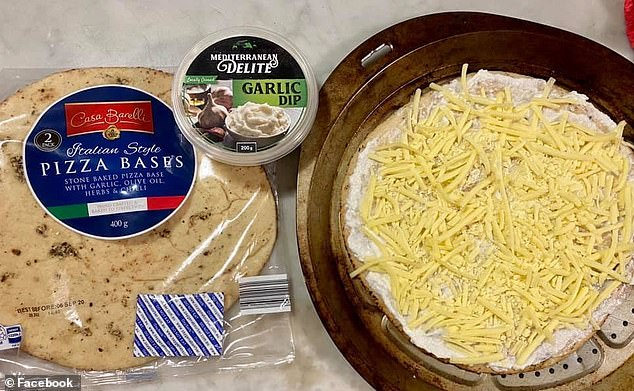 The Australian woman used just three products she purchased from Aldi - including pizza bases, mozzarella cheese and the retailer's popular $2.99 garlic dip