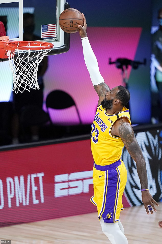Great victory!  The Lakers then eliminated the Trail Blazers in the first round of the playoffs, beating them 131-122;  James achieved a triple double: 36 points, 10 assists and 10 rebounds