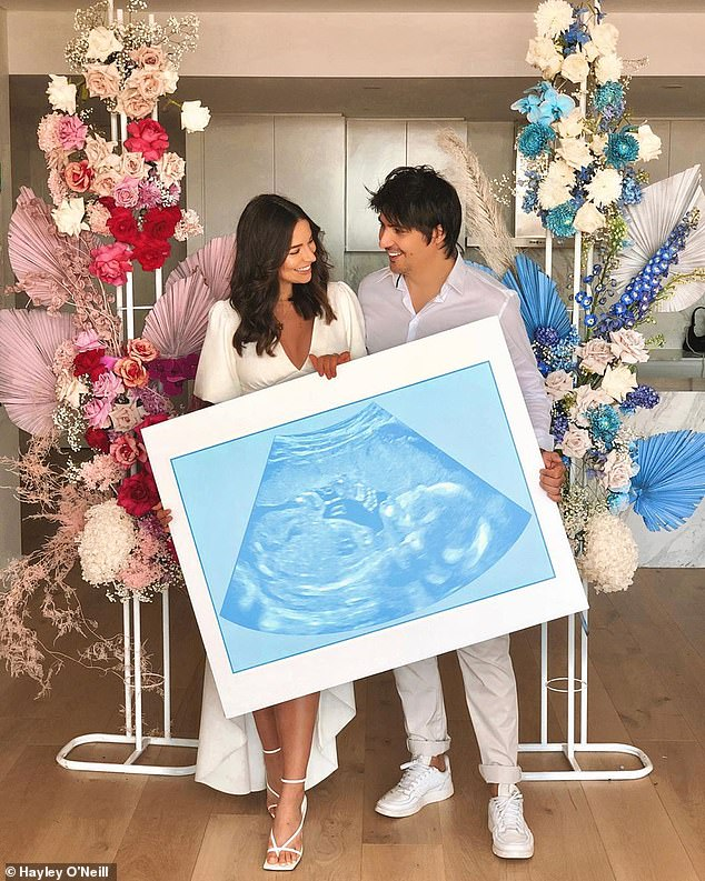 Exciting: In the footage, Monika, 29, and her Alesandro are seen both dressed in white, as they hosted a gender reveal party